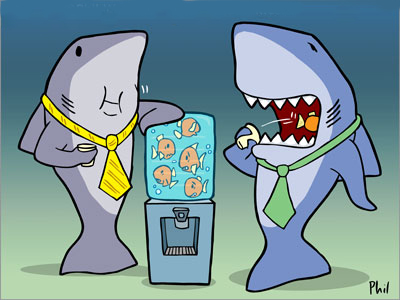 Two Sharks at Water Cooler